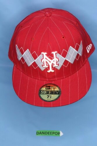 New York Mets Ny 59fifty Baseball Red Gray With Sticker 7 5 8 New Era Fitted New York Mets New Era Fitted Mets