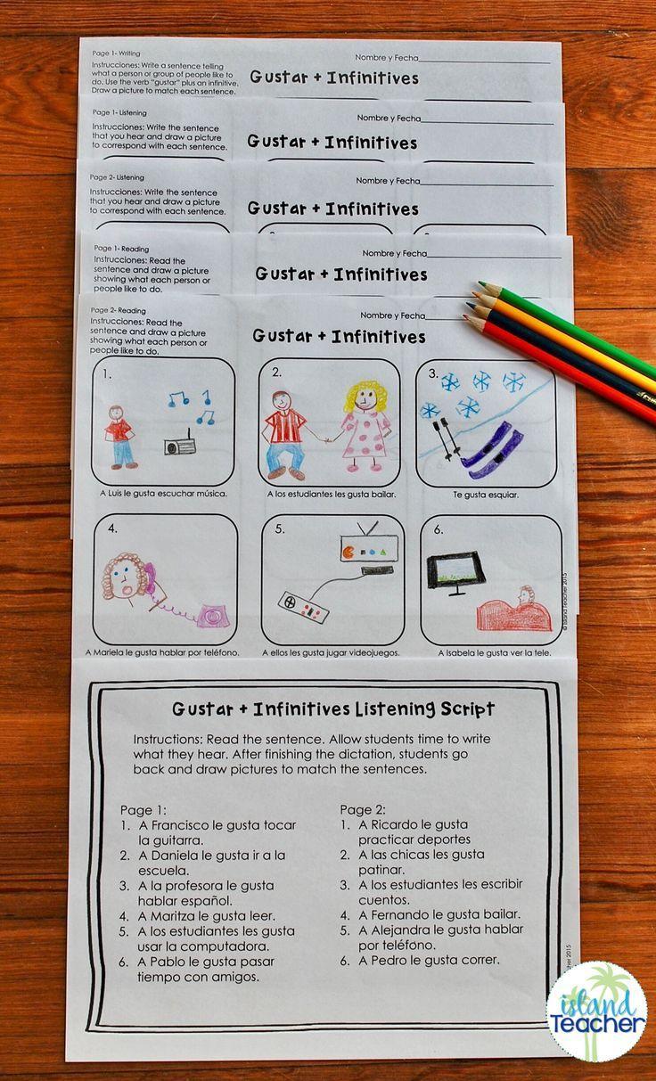 Gustar Plus Infinitive Spanish Drawing Activity Elementary Spanish Spanish Classroom Teaching Spanish [ 1213 x 736 Pixel ]
