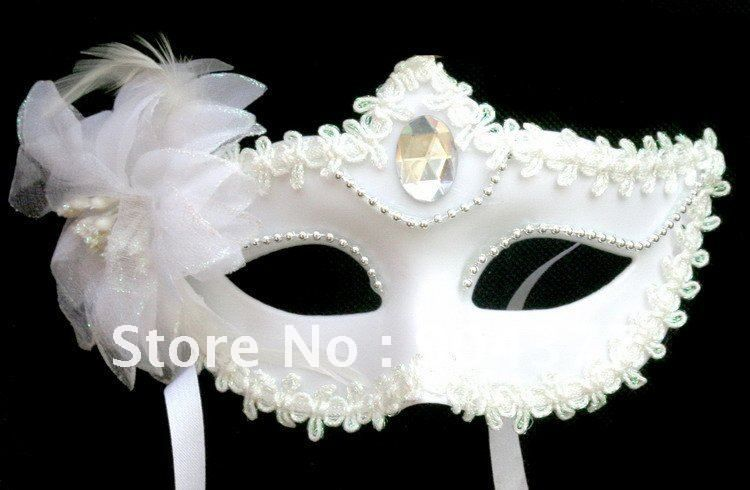 Decorative Venetian Masks Interesting White Masks For Masquerade Ball Feather Plastic Acrylic Diamond Design Decoration