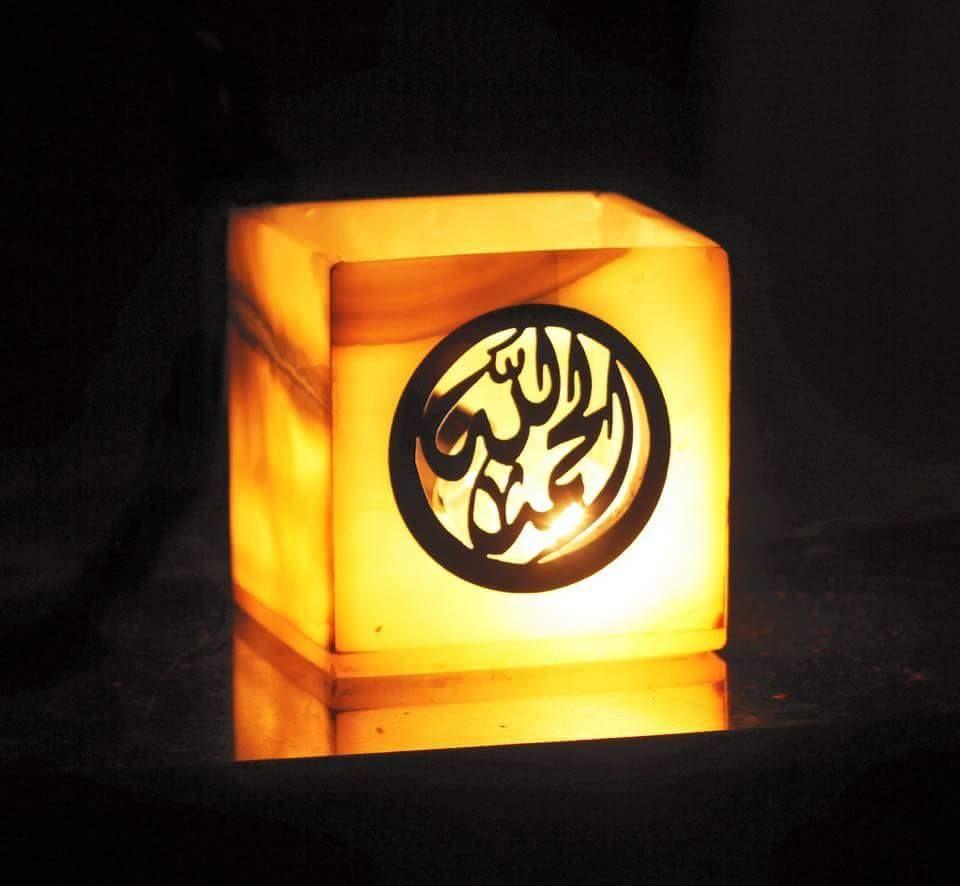 شمعدان الحمد الله من رخام البستر ونحاس بمكن تغيير الكتابة Novelty Lamp Lamp Table Lamp