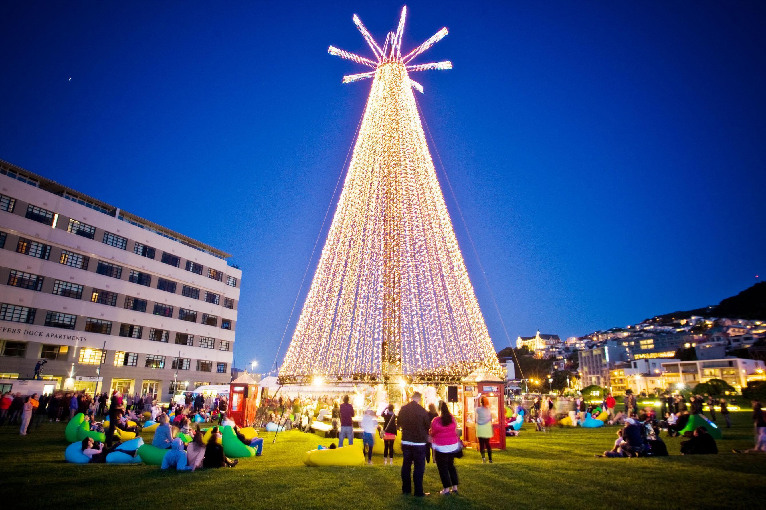 The Telecom Tree In Waitangi Park Wellington New Zealand Christmas In Australia Christmas Tree Light Up Christmas In Italy