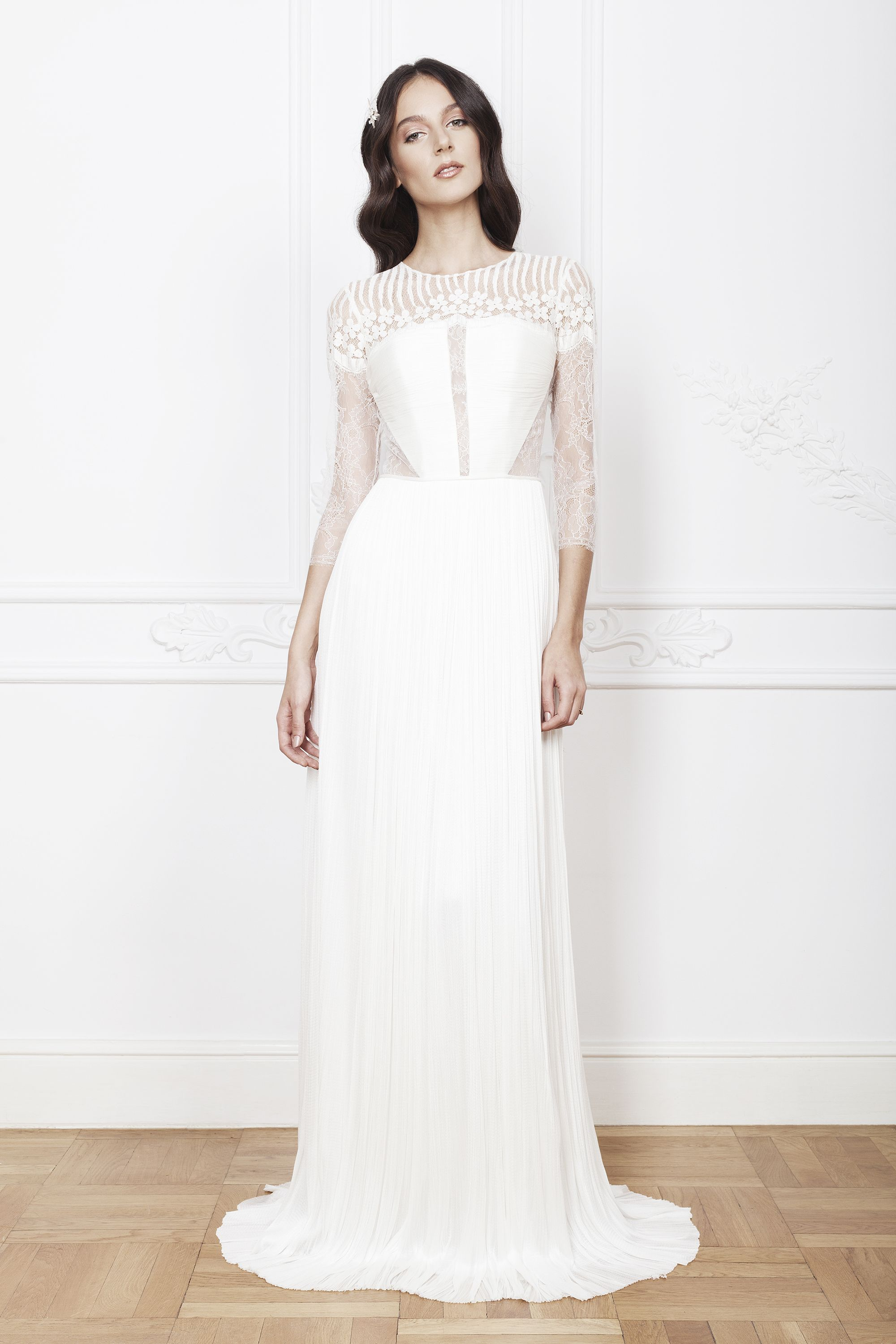 Cut out lace wedding dress  The geometrical details of the corsage the refinement of the lace