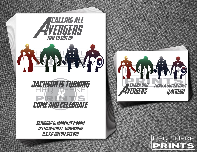 Avengers Birthday Invitation and Thank You Card - Ironman - Hulk ...