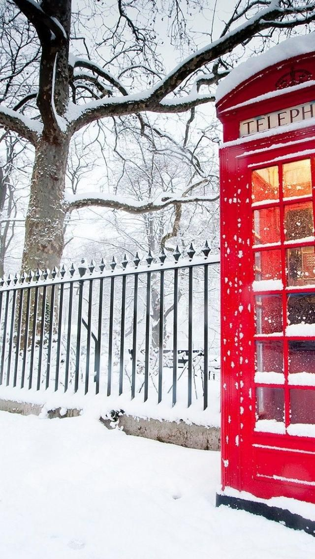 Love this snow covered phone booth ,London,
