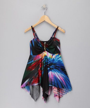 Take a look at this Blue Tie-Dye Gathered Handkerchief Top by Shoreline Wear on #zulily today!