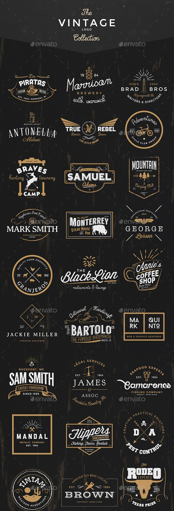 35 Handcrafted logos ideally to start a new branding project. Also, can be used as labels, insignia or badges. The logos were made in Adobe Photoshop, using only free fonts, so it will not be difficult to get them.