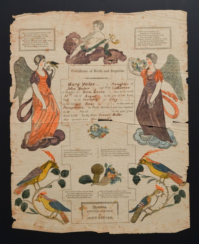 1822 Taufschein MARY YODER Baptism Certi. Berks Oley PA German Fraktur J. RITTER  | eBay