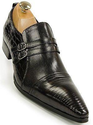 fa2345005e7 Mens Black Leather Reptile Design Buckle Slip On Dress Loafer Pointed Toe  Shoe