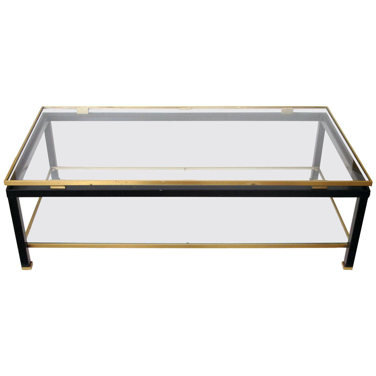 French Black Metal And Brass Coffee Table By Guy Lefevre For