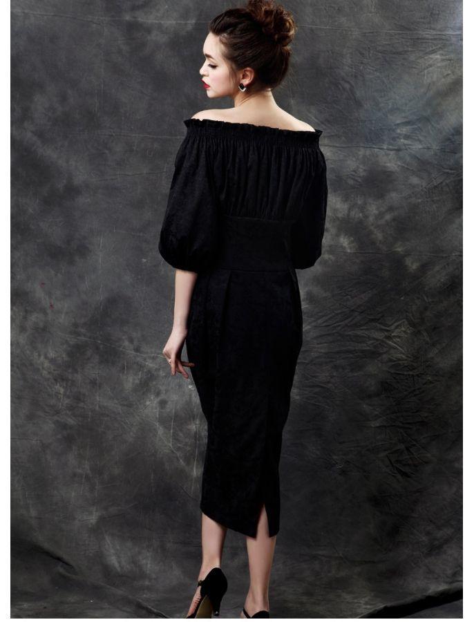 b063090c69ed Off Shoulder Vintage Style Midi Dress