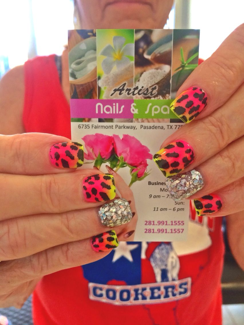 Pink and neon green ombré nails with cheetah prints design | ARTIST ...