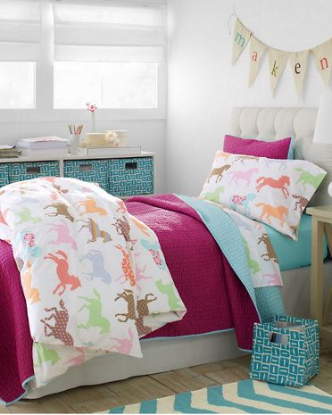 Pony Up Percale Bedding - Garnet Hill Kids