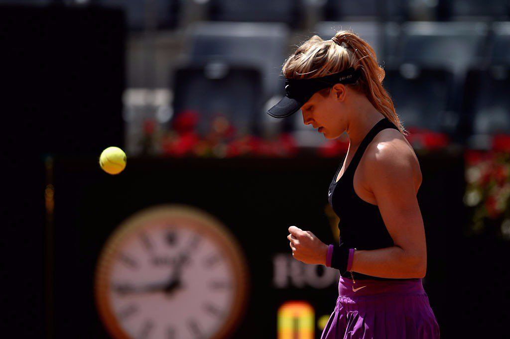 5/11/16 'Eugenie Bouchard advances at Italian Open: The Canadian tennis star got her first top 10 win since 2014, beating number two seed Angelique Kerber Wednesday morning in Rome.'