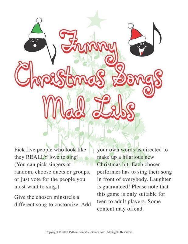 Christmas Christmas Funny Songs Mad Libs Holiday Ideas