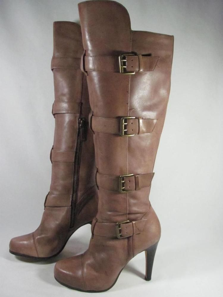 Saks Fifth Avenue Knee High Boot Women Size 6 Brown Fashion Clothing Shoes