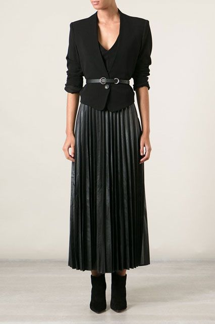 Cinch a pleated, leather maxi-skirt with a belted blazer. #refinery29 http://www.refinery29.com/creative-black-outfits#slide-6