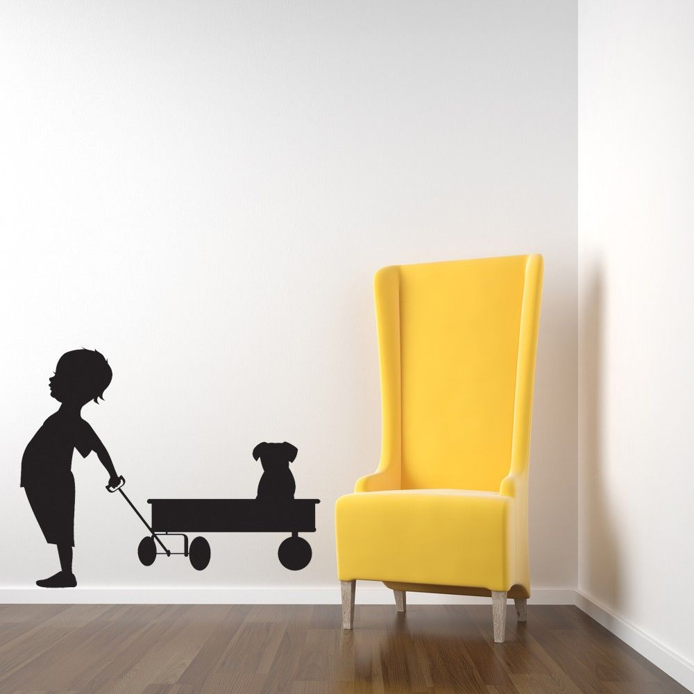 Boy with His Wagon and Puppy Vinyl Wall Art by VinylWallAccents ...