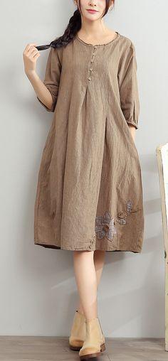 2017 gray summer linen dresses oversize sundress bracelet sleeve dress