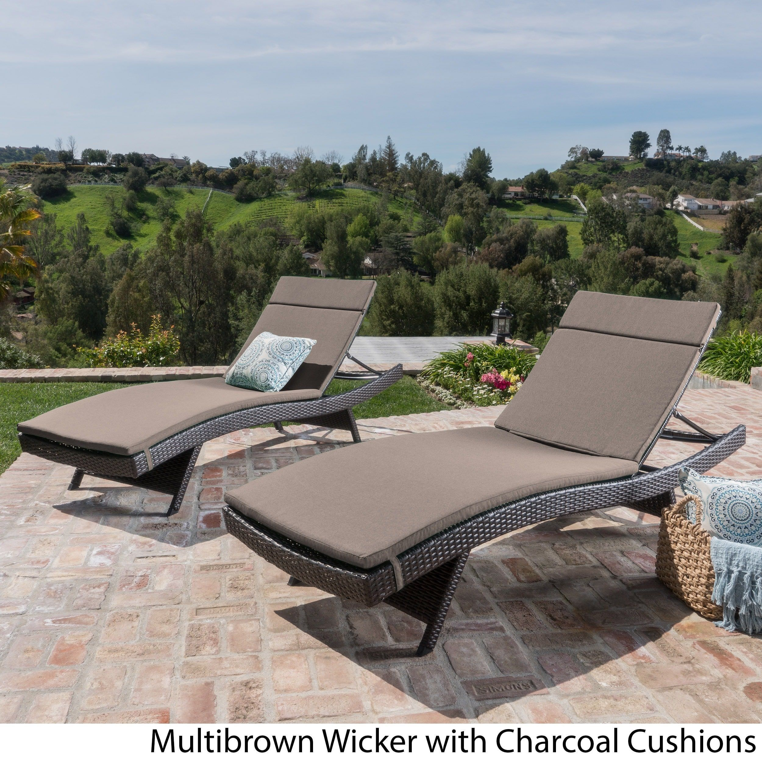 Gentil Toscana Outdoor Cushioned Wicker Chaise Lounge By Christopher Knight Home  (Set Of 2) (Brown Wicker   Bright Green Cushion), Patio Furniture  (Polyester)