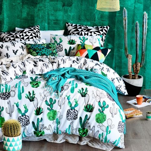 The Home Republic Designer Series collection offers a range of exclusively designed limited addition bedlinen, printed onto luxurious cotton. This quilt cover set features a unique collection of fun and vibrant hand painted cacti prints, perfect for those who like to make a bold fashion statement. Fully reversible with coordinating geometric print European pillowcases also available, this design certainly has the wow factor.