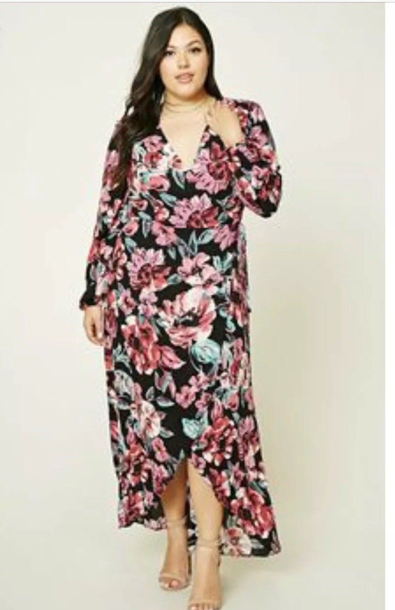 nice great forever 21 plus 2x long sleeve pink floral wrap maxi