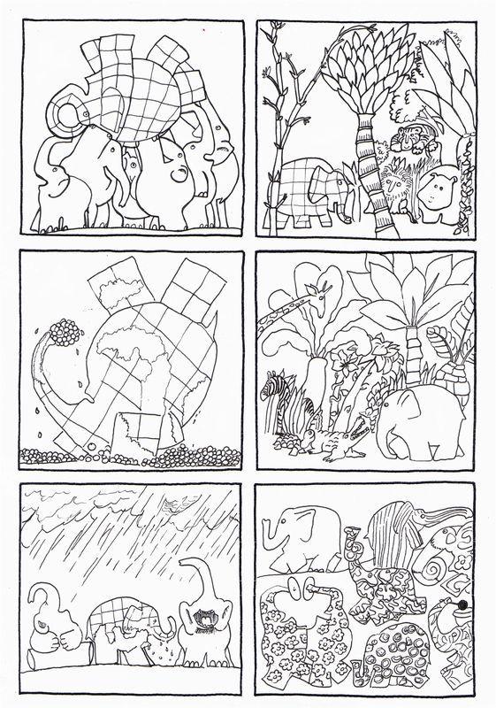 6 images séquentielles d\' Elmer de David Mc Kee , édition ...