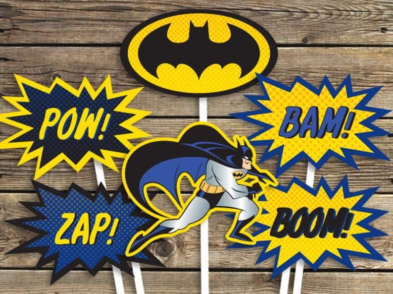 Batman Printables Blue Sign Centerpiece Photo Prop Etsy Batman Printables Superhero Birthday Party Spiderman Printables