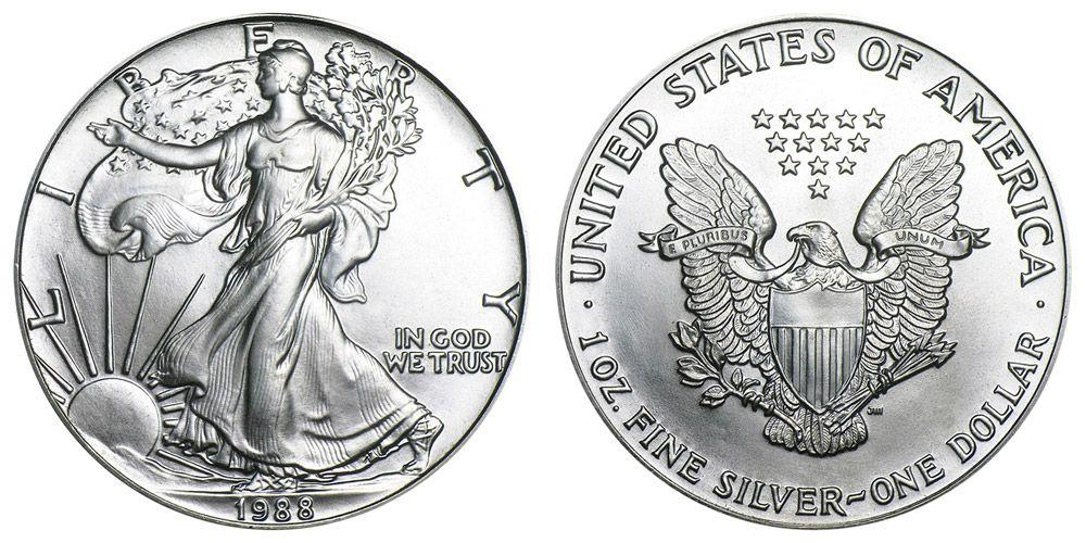 1988 P American Silver Eagle Bullion Coins One Troy Ounce Bullion Coins American Silver Eagle Silver Eagles