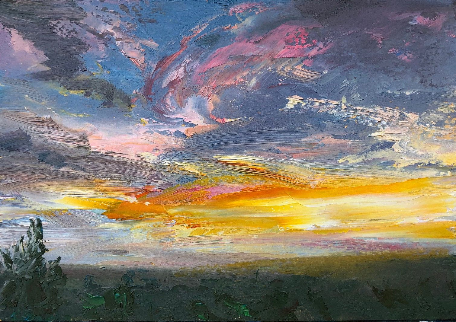 Original Oil Painting On Paper 6 X 8 25 Landscape Sunset