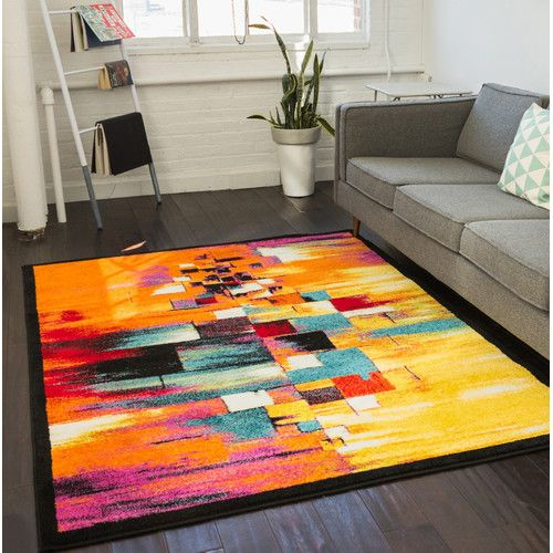 Brooksville Abstract Red Orange Blue Area Rug In 2019 Rugs