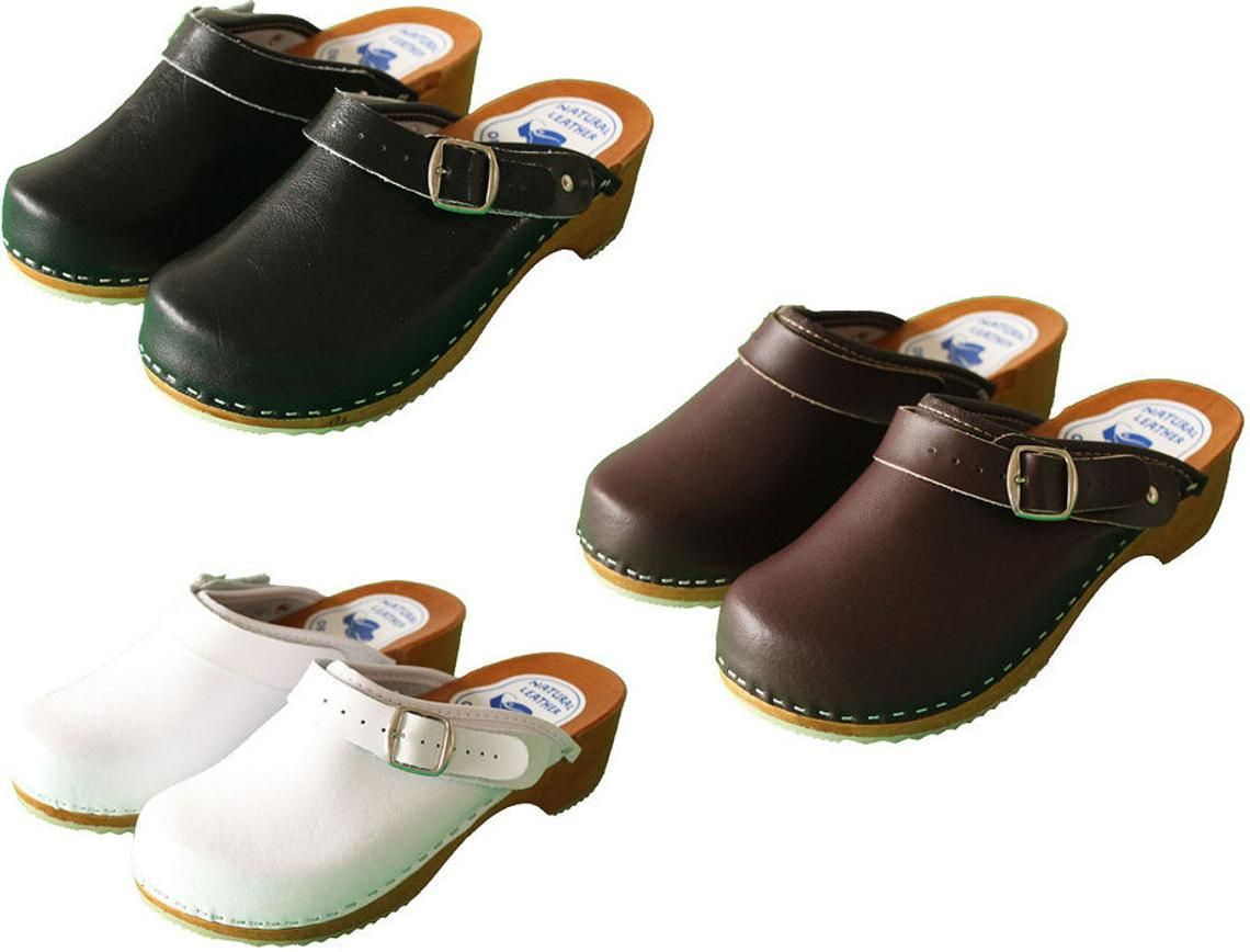 76ea9540f06 Womens Hand Made Clogs Ladies Wooden Sole 100% Natural Leather ...