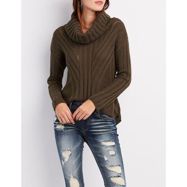 Charlotte Russe Pointelle Cowl Neck Sweater (£24) ❤ liked on ...