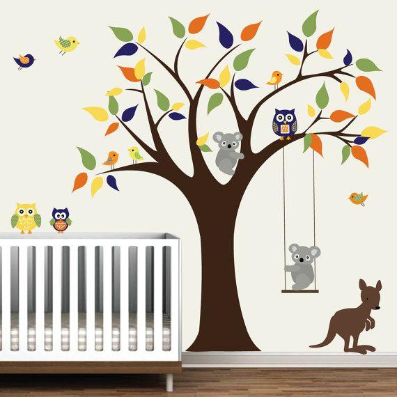 Vinyl Wall Decal Tree With Kangaroo Koala Bear Owls Birds