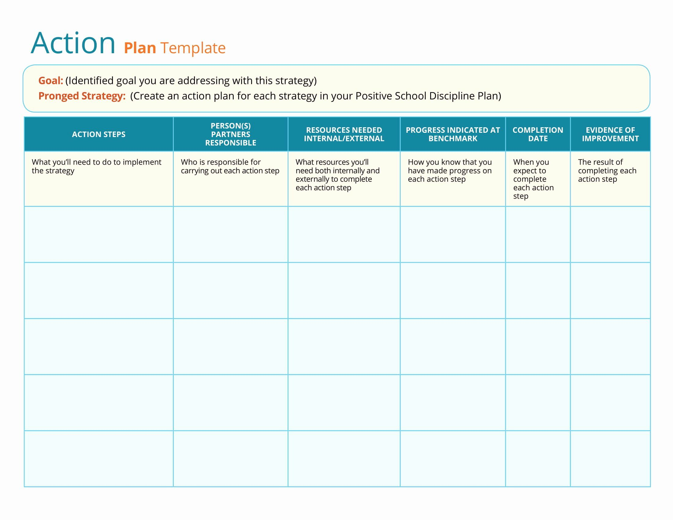 Fresh Business Action Plan Template In