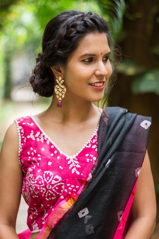 e6458b80ba1d1 Pink batik printed cotton blouse with pom pom edging  blouse  saree   houseofblouse  desi  indianwear  summer  vneck  batik  print  pink  white   pompom