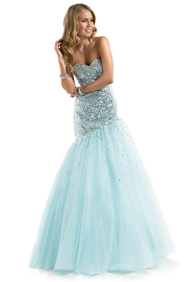 Shop 2014 Prom Dress Sequined Corset Tulle Sweetheart Mermaid Floor ...