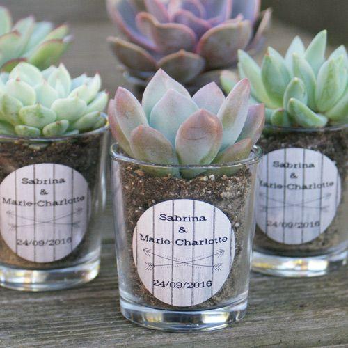 Succulente avec pot en verre personnalisé cadeau d invités mariage