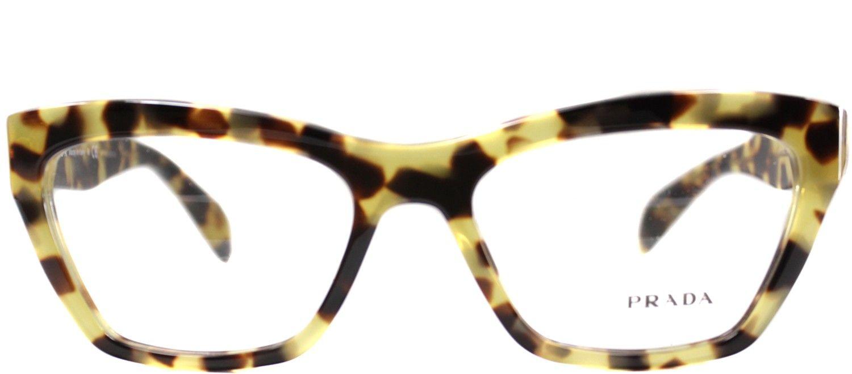 1cccf60185f5 Prada Journal PR 14QV 7S01O1 Medium Havana Cat Eye Plastic Eyeglasses