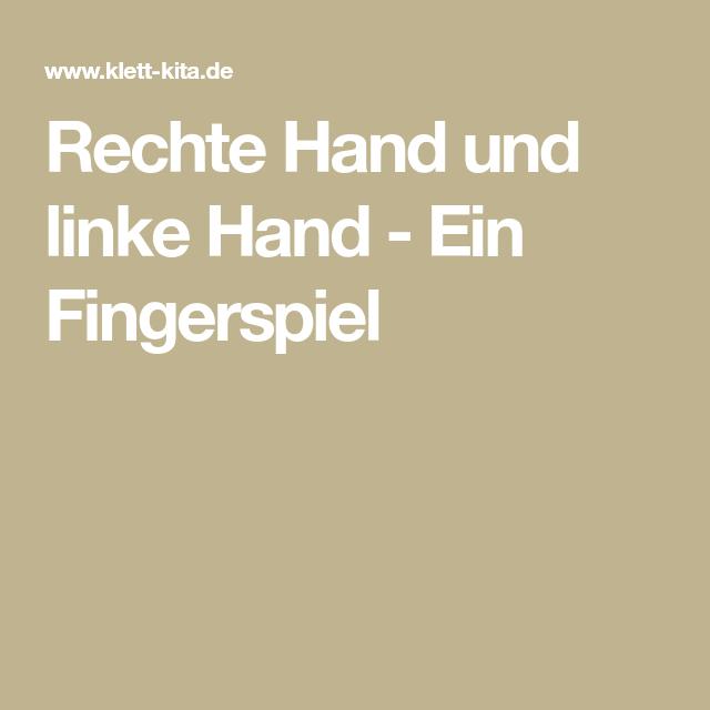 Rechte Hand und linke Hand - Ein Fingerspiel | Fingerspiele, Lieder ...