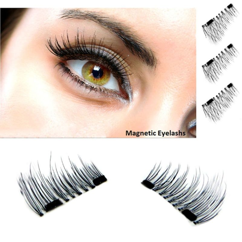4pcs New Easy Wear 3d Magnetic Eyelash False Eyelash Double Magnet