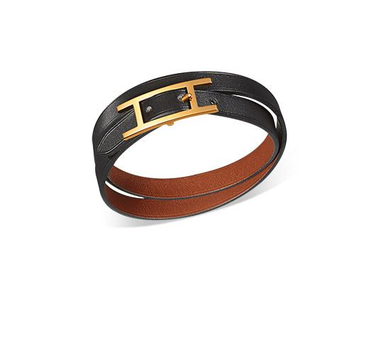 f7ebd8e88b Behapi Double Tour Hermes reversible leather bracelet (size XS) Black  chamonix calfskin natural chamonix calfskin Bamboo green turquoise swift  calfskin Gold ...