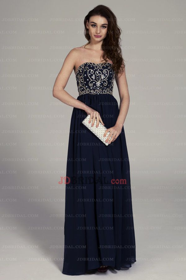 2015 Tasteful Embroidered Beads Working Strapless A Line Navy Blue Prom Dress