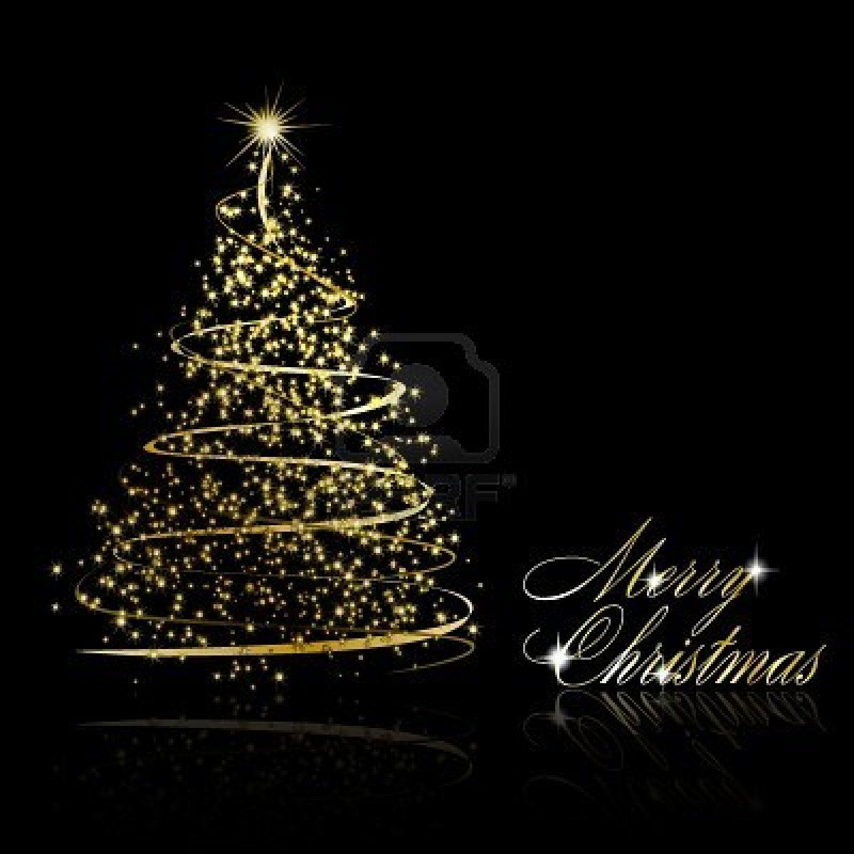 Abstract Golden Christmas Tree On Black Background Illustration Beautiful Christmas Decorations Christmas Tree Christmas Stock Photos