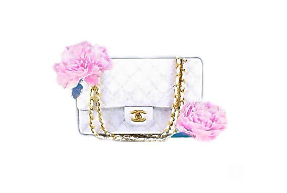 aec0cd831894c3 DIGITAL ART PRINT from Watercolor Painting, White & Gold Chanel Bag With  Pink Peonies Flowers Fashio