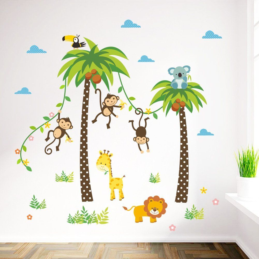 ElecMotive Dschungel Abnehmbare Wandsticker Kinderzimmer