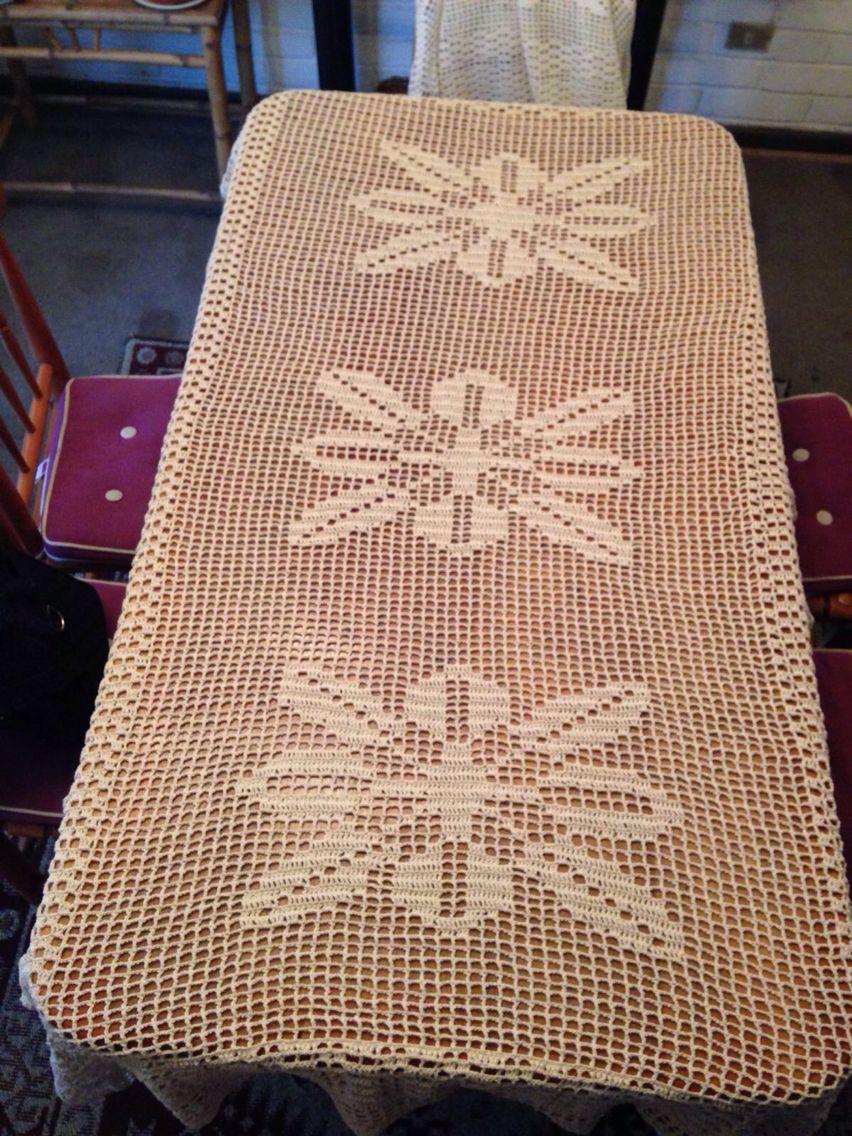 Mantel para mesa rectangular tejido a mano en crochet - Manteles mesa rectangular ...