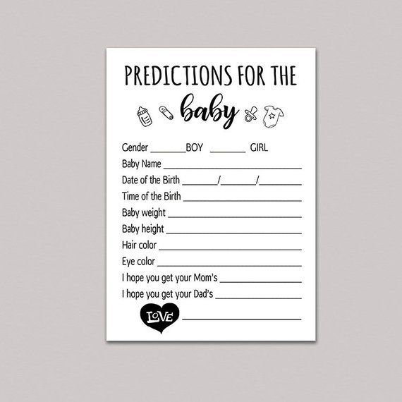 BABY PREDICTION CARDS, predictions for baby printable, baby