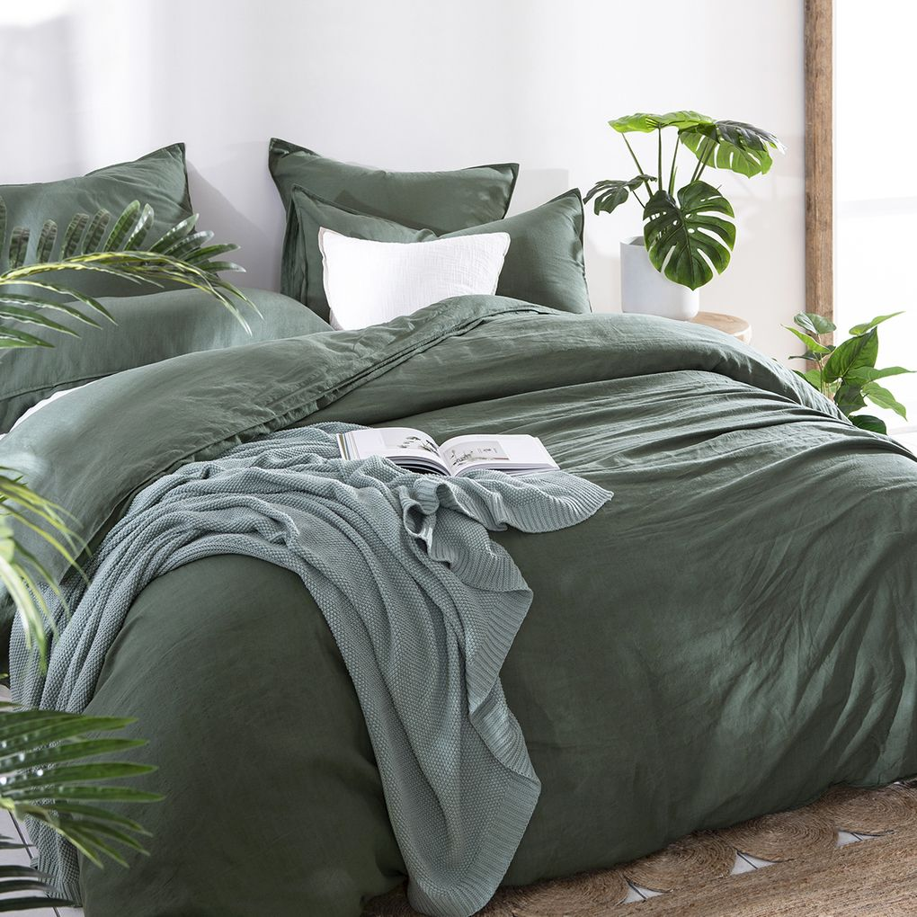 Washed Linen Look Dark Green Quilt Cover Set Pillow Talk Green Comforter Bedroom Bedroom Green Comfortable Bedroom