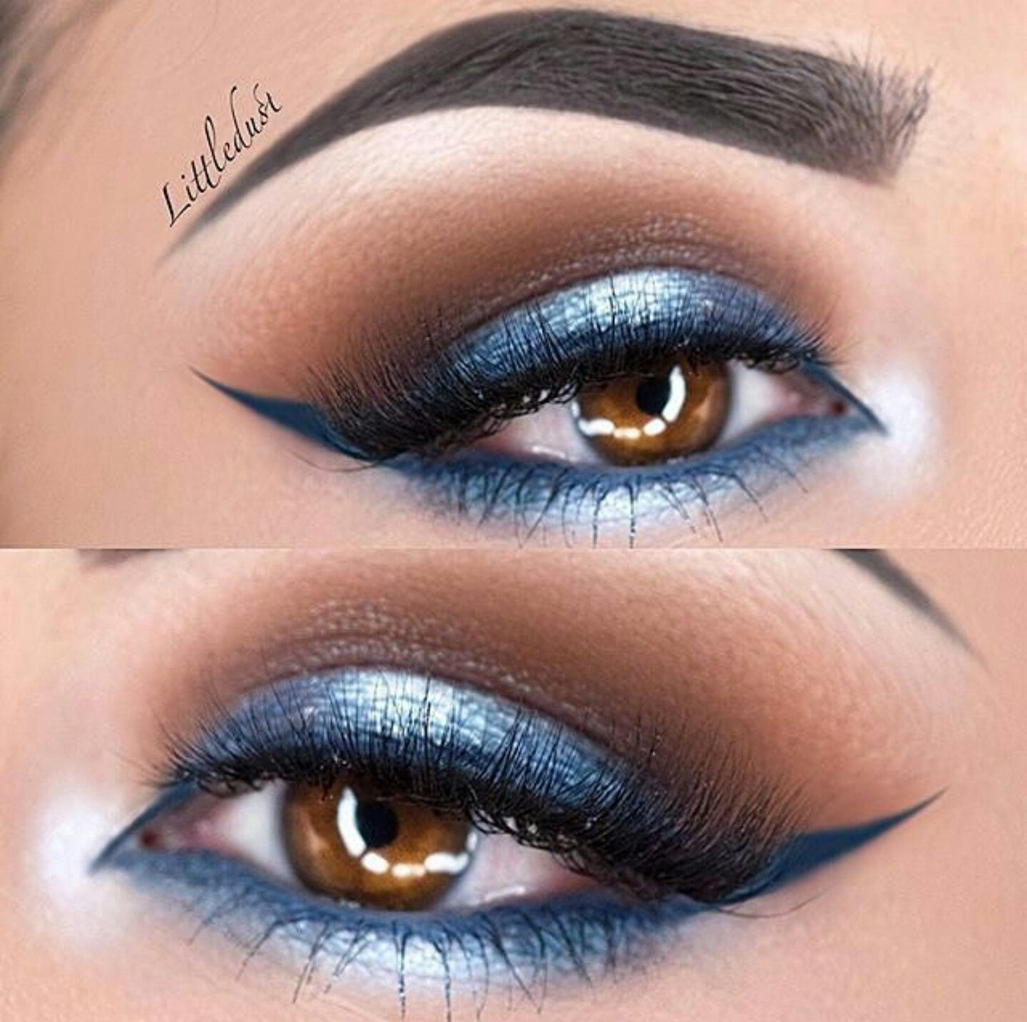 Deep blue, midnight blue, silver, halo eye makeup look