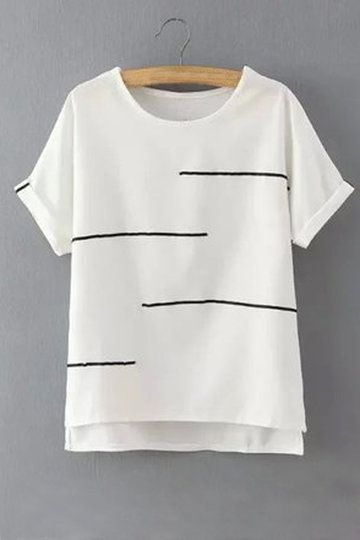 Simple Design Loose Stripe Details T-shirts from mobile - US$15.95 -YOINS